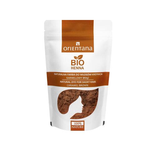 Orientana - BIO HAIR HENNA CARAMEL BROWN for short hair - 100% Vegan & Herbal - dyes hair permanently - gives shine & volume - caramel colour, 50g