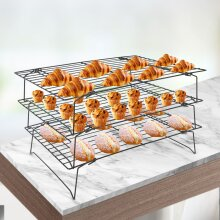 3Tier Stackable Cooling Oven Baking Cake Tray Rack Non Stick Shelf