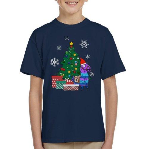 (X-Small (3-4 yrs)) Fortnite Loot Llama Around The Christmas Tree Kid's T-Shirt