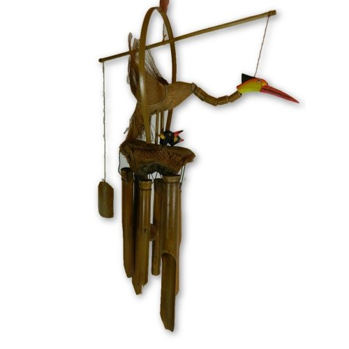 Bamboo Bird Windchime - Hand Carved Crane With Babies Design