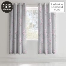 Catherine Lansfield Canterbury Black Out Eyelet Curtains Grey 66x72Inch