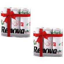 Renova White Print 2 Ply Christmas Xmas Toilet Tissue Paper Rolls (18 Rolls)