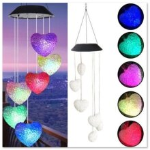 Garden Outdoor Hanging Wind Chimes Solar Powered LED Light Decorations