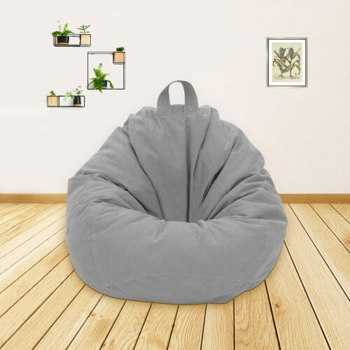 (Light grey) Adults Kids Large Bean Bag Sofa Cover Indoor Lazy Lounger