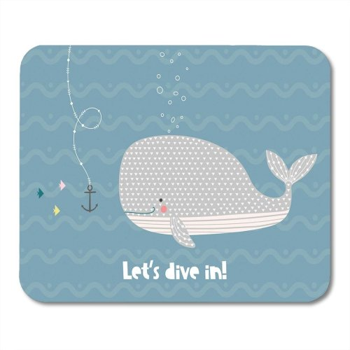 Yanteng Mouse Pads Mouse Pads Blue Drawn Happy Whale in The Ocean Scandinavian Text Funny Cute Hand Baby Mouse pad for Notebooks