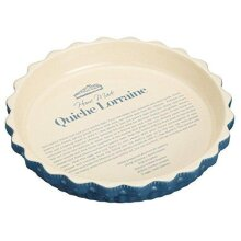 KitchenCraft Home Made Quiche Dish with Printed Recipe and Fluted Rim, Stoneware, Navy / Cream, 23.5 x 3.5 cm