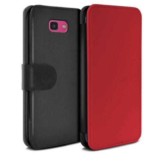 (Red) Colours Samsung Galaxy J4 Plus 2018 Phone Case Wallet Flip Faux PU Leather Cover for Samsung Galaxy J4 Plus 2018