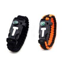 Paracord Survival Bracelet (Pair): Fire Starter Kit, Whistle, Compass, Bushcraft