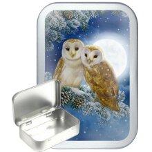 Conifer Owl 50ml Silver Hinged Tobacco tin, Gift Tin