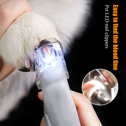 LED Light Nail Trimmer Dog Cat Pet Clipper Scissors Toe Claw Clippers