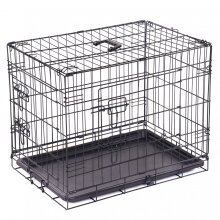 "Oypla 24"" Folding Metal Dog Cage Puppy Transport Crate Pet Carrier"
