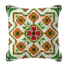 """Latch Hook Complete Cushion Cover Kit """"Red,Green,Cream Abstract """""""