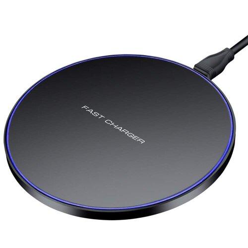 Samsung Galaxy A9 (2018) Round Black Universal Qi Wireless Charger Desktop Pad + Qi Receiver Micro USB