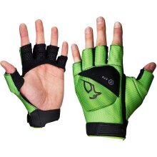 Kookaburra Xenon 1/2 Finger Hand Guard Hockey Gloves Black/Lime (UK2020)