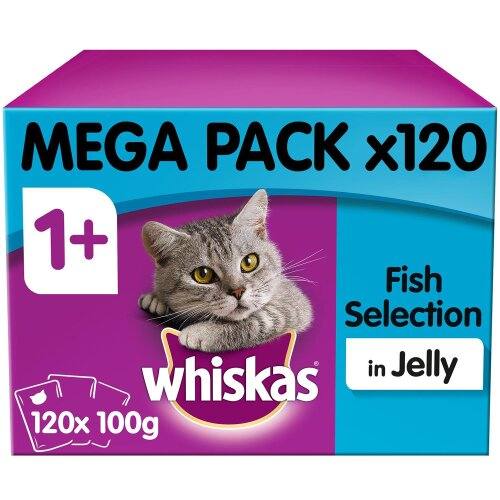Whiskas 1+ Cat Pouches Fish Selection in Jelly Adult Cat Food 120x100g MegaPack