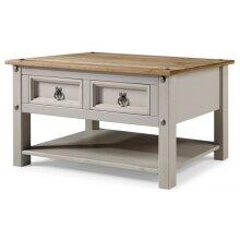 Corona Grey Wax 2 Drawer Coffee Table Lamp Living Room Furniture
