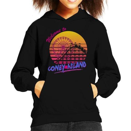 (Medium (7-8 yrs)) Welcome To Coney Island Retro 80s Kid's Hooded Sweatshirt
