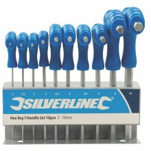 10 Piece 2-10mm Silverline Hex Key T-handle Set - Thandle 3237 Allen Metric -  hex key set silverline thandle 10 323710 allen metric 10pce stand