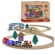 Rudolph the Red Nose Reindeer Wooden Train with Figure 8 Track