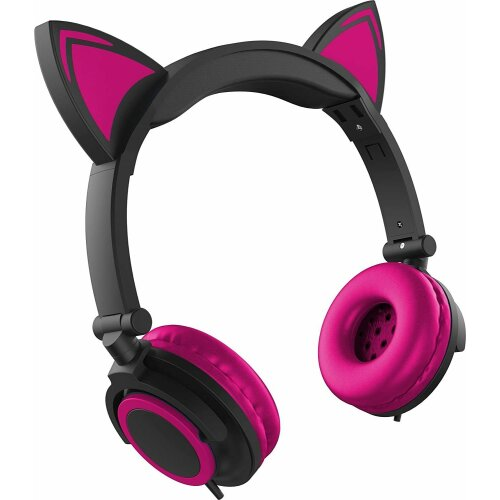 Cat Ear Foldable Headphones With LED Lights In Pink with Microphone