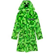 Minecraft Creeper Dressing Gown For Boys & Girls   Kids Green Soft Bathrobe With Creeper Face Hood   Teens & Children's Nightwear Robe   Gamer Gifts