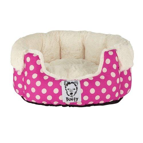 (Large, Pink) Bunty Deep Dream Polka Dot Bed | Soft Fleece Dog Bed