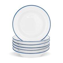6x Country Farmhouse White Soup Dish Set with Blue Rims 22cm