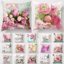 Flower Pink Colourful Sofa Pillowcase Cushion Cover Throw Pillow Case Home Decor