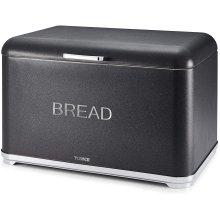Tower T826014B Kitchen Bread Bin, Glitz Range, Coated Steel with Chrome Accents, Noir, One Size