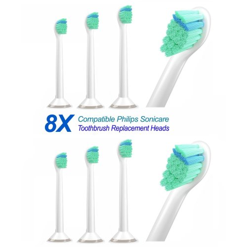 8 pcs. (2 x 4pk) Plakaway® Mini Brushes PHX6024 Compatible,Dental Replacement for Philips Sonicare ProResults Hx6024 Mini Toothbrush Heads.