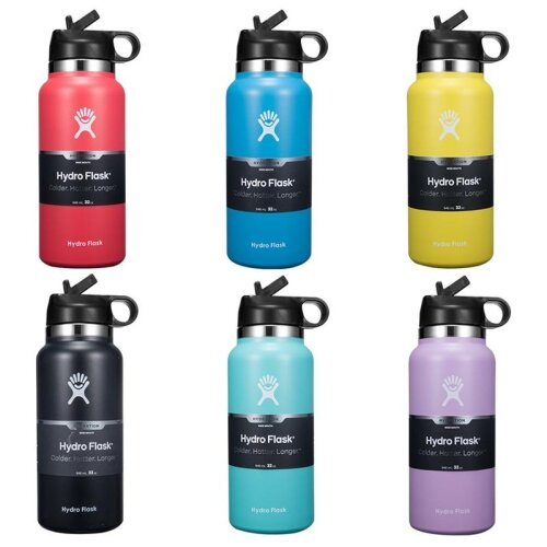 HydroFlask Water Bottle, Stainless Steel & Vacuum Insulated, Wide Mouth With Straw Lid