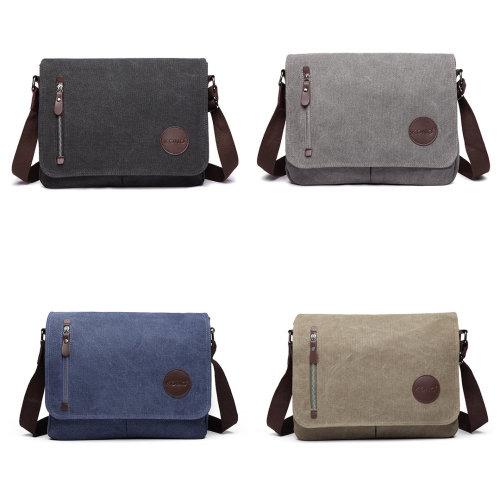 KONO Women Men Messenger Bags School Bag for Teenagers Girls Boys College Student Canvas Zip Cross Body Shoulder Satchel