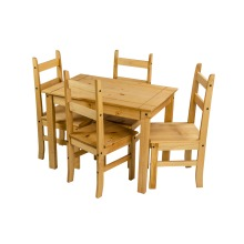 Corona Dining Table and 4 Chairs Budget Set Mexican Pine Furniture