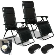 2 x Zero Gravity Chair Reclining Lounger Outdoor Garden with Cup Holder