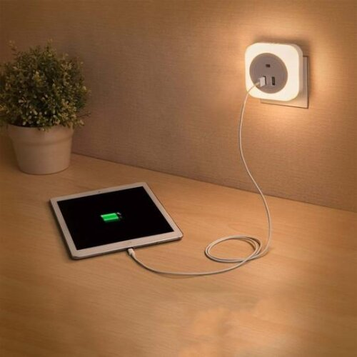 Led Light Lamp Light With USB Bedside Charger Night Light With US Plug
