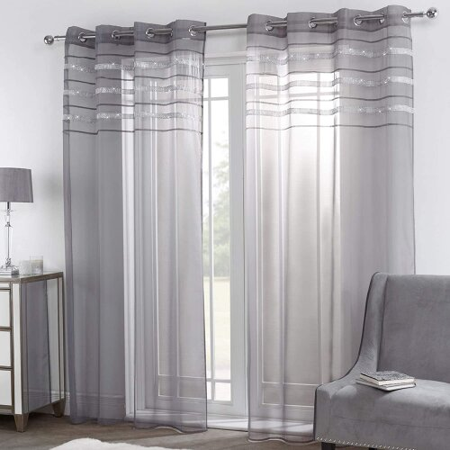 Sienna Window-Treatment-Draperies, Diamante Voile Net, Charcoal Grey, 55' wide x 87' drop