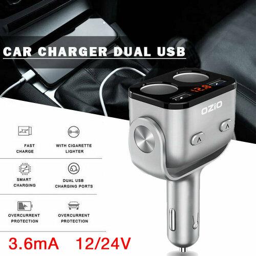 2 Way Car Charger Cigarette Lighter Socket Splitter Power Adapter Dual USB