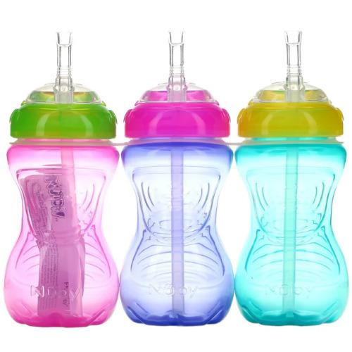 Nuby, No Spill FlexStraw Cups, 12+ Months, Girl, 3 Pack, 300ml Each