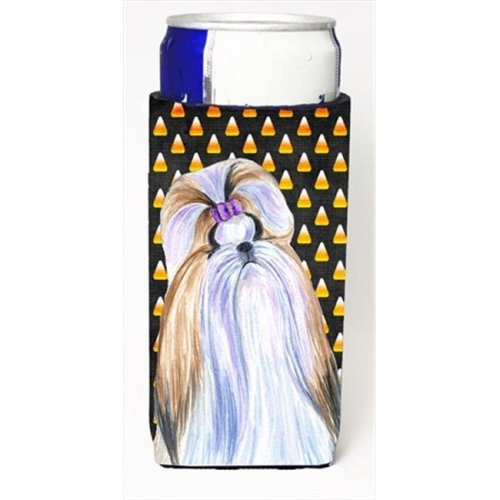 Shih Tzu Candy Corn Halloween Portrait Michelob Ultra bottle sleeves For Slim Cans - 12 Oz.