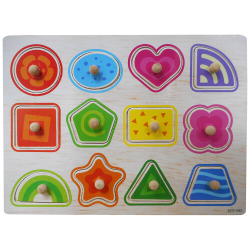 Children Peg Shapes Jigsaw Puzzle Toy Baby Developmental Wooden Toy