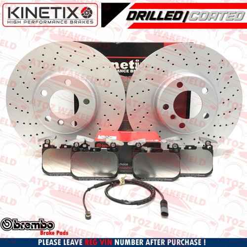FOR BMW 418d M SPORT FRONT DRILLED PEROFMANCE BRAKE DISCS BREMBO PADS 340mm