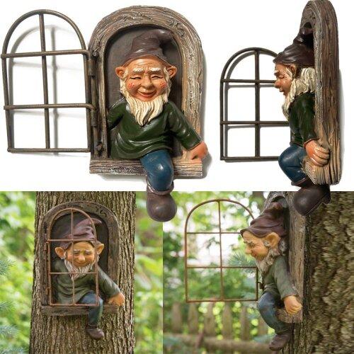 Elf Out The Door Gnome Statue Garden Decor