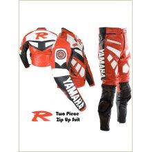 YAMAHA R R1 R6 Bike Racing Suit Cowhide Leather Motorcycle Motorbike Bikers Racing Sports Two 2 Piece Zip Up Suit (Jacket+Trouser)