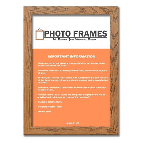 (Dark Oak, A5- 210x148mm) Picture Photo Frames Flat Wooden Effect Photo Frames