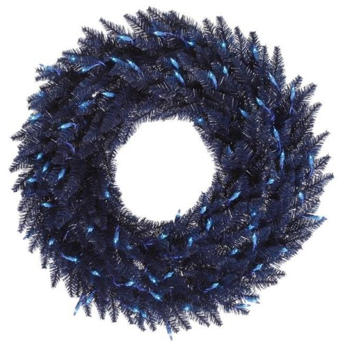 Vickerman K160737LED Navy Blue Fir Dura-Lit Wreath with Blue LED Lights, 36 in.