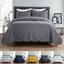 3 Piece Quilted Reversible Bedspread Bedding Set