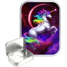 Rainbow Unicorn 30ml Silver Hinged Tobacco Tin, Gift Tin