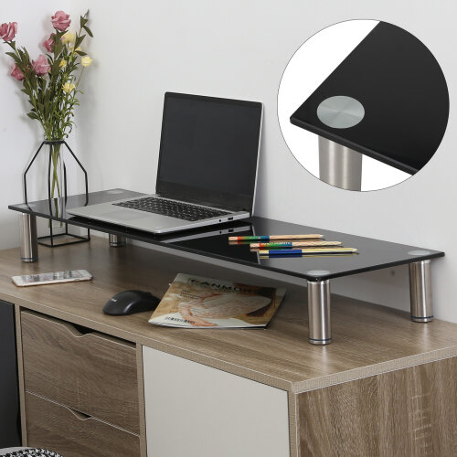 Large Twin Monitor Riser Stand TV PC Dual Double Screen Computer