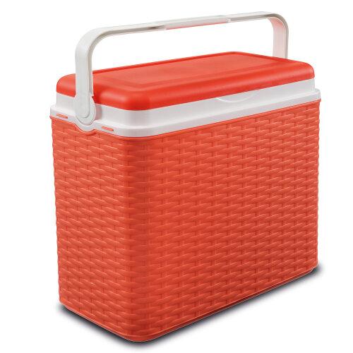 (Orange ) 24 Litre Rattan Design Cooler Box Ice Pack Option