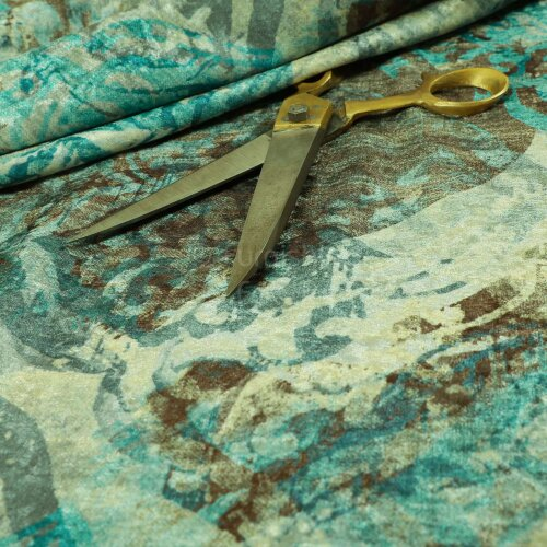Blue Brown Camouflage Abstract Pattern Shiny Velvet Curtain Upholstery Fabrics - Sold By The 1 Metre Length Fabric Sold By Metre